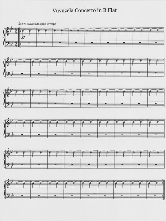 vuvuzela music sheet